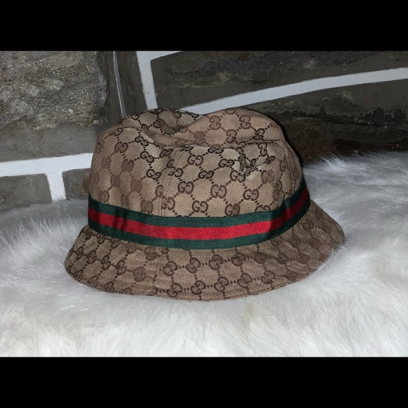 80780acf4999f8 Gucci Accessories | Kids Gg Supreme Canvas Bucket Hat W Web Hat Band ...